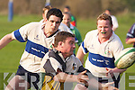 The pre-2000 Tralee team eyes up the tackle.