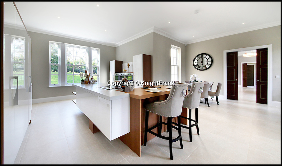 BNPS.co.uk (01202 558833)<br /> Pic: KnightFrank/BNPS<br /> <br /> Bolthole-in-one!<br /> <br /> Cutting edge kitchen.<br /> <br /> Golf fans will be green with envy - This brand new Palladian style pad comes with a fantastic view of the 17th green at exclusive Wentworth golf club in Surrey.<br /> <br /> But despite the &pound;6.75 million price tag you will still have to pass muster with the members and stump up a &pound;125,000 joining fee to become part of the world famous club.<br /> <br /> Greenside is part of the Wentworth Estate, one of the most expensive private estates in the country, which has the Wentworth Golf Club at its heart.<br /> <br /> The lucky buyer of this house can watch the world's best golfers battle it out for the European Tour's PGA Championship from the balcony overlooking the 17th green of the iconic West Course.<br /> <br /> The newly-built five-bedroom home, on the market with Knight Frank, has everything you could need, including an indoor swimming pool complex with a sauna and a spa.