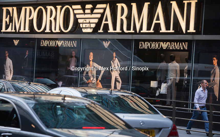 An exterior shot of the Emporio Armani store, Central district, Hong Kong, China, 28 April 2014.