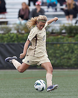 Boston College midfielder Kate McCarthy (21) takes a shot. Pepperdine University defeated Boston College,1-0, at Soldiers Field Soccer Stadium, on September 29, 2012.