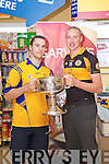 Patrick Curtin and Kieran Donaghy pictured at the launch of the Kerry Senior Football Championship sponsored by Garveys Supervalu at Garveys Rock Street Tralee on Monday.
