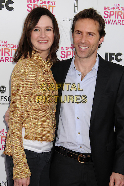 Emily Mortimer, Alessandro Nivola.2013 Film Independent Spirit Awards - Arrivals held at Santa Monica Beach.  .Santa Monica, California, USA, .23rd February 2013..indy indie indies indys half length gold jacket tweed suit grey gray shirt  blue .CAP/ADM/BP.©Byron Purvis/AdMedia/Capital Pictures.
