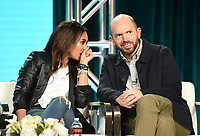 """PASADENA, CA - JANUARY 31: Regina Hall and Paul Scheer of """"Black Monday"""" attend the Showtime portion of the 2019 Television Critics Association Winter Press Tour at the Langham Huntington on January 31, 2019, in Pasadena, California. (Photo by Frank Micelotta/PictureGroup)"""
