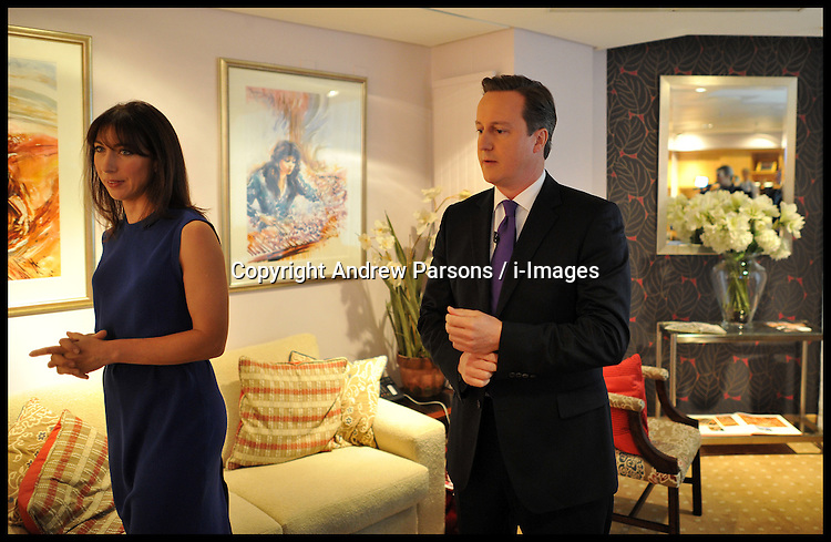 British Prime Minister David Cameron in the green room with his wife Samantha Cameron before delivering his speech to delegates on the last day of the Conservative party conference, International Convention Centre, October 10, 2012, Birmingham, England. Photo by Andrew Parsons / i-Images...