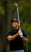 Tiger Woods watches his approach shot during the 2007 Wachovia Championships at Quail Hollow Country Club in Charlotte, NC.