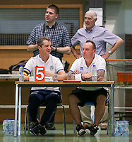 20190915– HALLE , BELGIUM : Halle-Gooik Girls officials  (back left to right) Wim Walravens, Jos Walravens, (front left to right) Sebastian Lichtherte and Rudy Suet are pictured during the Belgian Women's Futsal D1 match between FP Halle-Gooik A and FP Halle-Gooik B on Sunday 15th 2019 at the De Bres Sport Complex in Halle, Belgium. PHOTO SPORTPIX.BE | Sevil Oktem