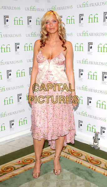 LIZ McCLARNON.Arrivals at the UK Fifi Awards  for the fragrance industry, .The Dorchester Hotel, London, April 25th 2005..full length boobs cleavage pink floral flower dress girly lace satin floaty.Ref: BEL.www.capitalpictures.com.sales@capitalpictures.com.©Tom Belcher/Capital Pictures.