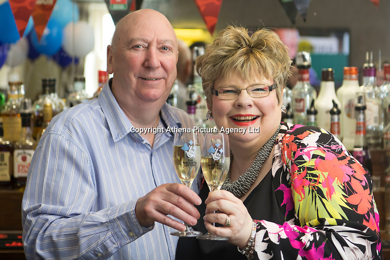 "COPY BY TOM BEDFORD<br /> Pictured: David and Penny Bradley at their pub in Aberdare, Wales, UK. Tuesday 24 July 2018<br /> Re: ""That's the last time I send him to do the lottery."" David and Penny Bradley who missed out on £50m by one number - but still picked up £350,000.<br /> Pictured at their pub in Aberdare, South Wales"