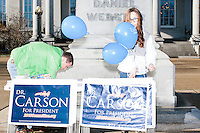 Carson supporters gather outside the New Hampshire State House before Republican presidential candidate Dr. Ben Carson arrives to officially file his presidential candidacy in the New Hampshire State House in Concord, New Hampshire.