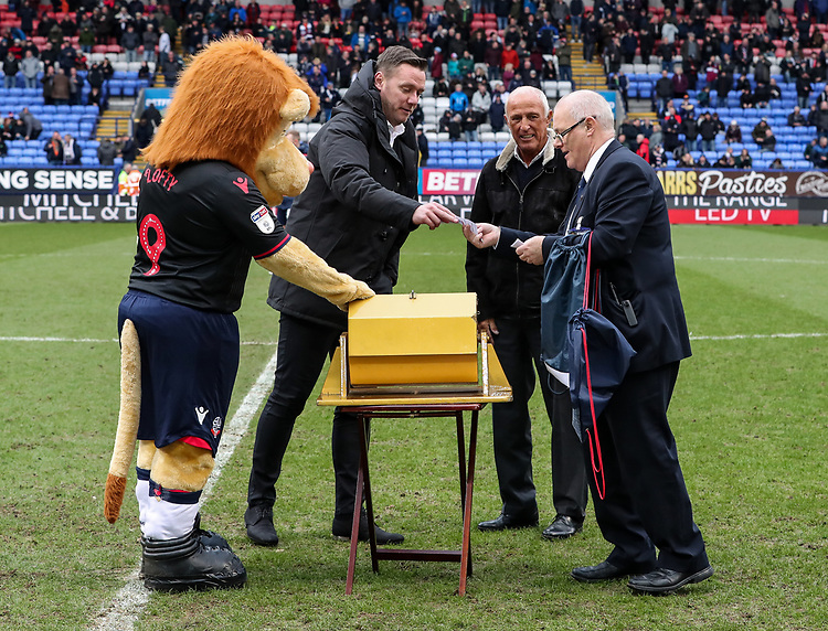 Former Bolton Wanderers' player Kevin Nolan assists in the Golden Gamble draw  <br /> <br /> Photographer Andrew Kearns/CameraSport<br /> <br /> The EFL Sky Bet Championship - Bolton Wanderers v Norwich City - Saturday 16th February 2019 - University of Bolton Stadium - Bolton<br /> <br /> World Copyright © 2019 CameraSport. All rights reserved. 43 Linden Ave. Countesthorpe. Leicester. England. LE8 5PG - Tel: +44 (0) 116 277 4147 - admin@camerasport.com - www.camerasport.com