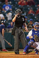 Umpire Max Guyll calls a strike behind catcher Tony Sanchez (26) during a game between the Lehigh Valley IronPigs and Buffalo Bisons on July 9, 2016 at Coca-Cola Field in Buffalo, New York.  Lehigh Valley defeated Buffalo 9-1 in a rain shortened game.  (Mike Janes/Four Seam Images)