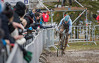 Wout Van Aert (BEL/Crelan-Willems) leading the race<br /> <br /> Elite Men's Race<br /> UCI 2017 Cyclocross World Championships<br /> <br /> january 2017, Bieles/Luxemburg