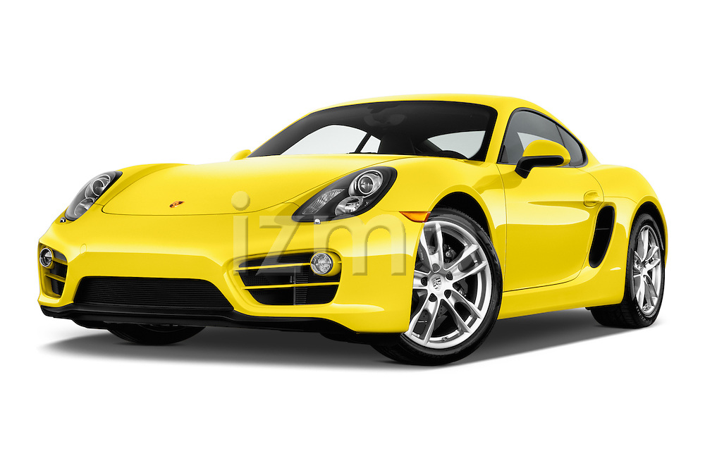 Stock pictures of low aggressive front three quarter view of 2016 Porsche Cayman 3 Door Coupe Low Aggressive