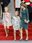 Princess Leonor of Spain, Princess Sofia of Spain and Queen Letizia of Spain attend Spain's National Day Military Parade. October 12 ,2014. (ALTERPHOTOS/Pool)