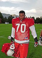 Jul 31, 2009; Flagstaff, AZ, USA; Arizona Cardinals defensive end Jason Banks during training camp on the campus of Northern Arizona University. Mandatory Credit: Mark J. Rebilas-