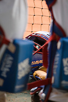 19 August 2007: A catcher mask lies in the dugout during the Japan 4-3 victory over France in the Good Luck Beijing International baseball tournament (olympic test event) at the Wukesong Baseball Field in Beijing, China.