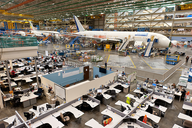9/19/2011--Everett, WA, USA..Assembly of Boeing's 787 Dreamliner at the company's massive factory in Everett, WASH., north of Seattle. Boeing will deliver the first 787 to launch customer ANA (All Nippon Airways) at the end of the month...©2011 Stuart Isett. All rights reserved.