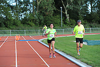 ALTLETIEK: SNEEK: 29-08-2015, Sneek -Bolsward - Sneek, winnaar van 20 km werd Erik Negerman in 1.08.46u (aan kop), Willem de Boer (Exmorra) werd tweede op 28 tellen (achterste loper), Adriaan Fransen 1.09,31 (middelste loper),  Jan Venhuizen uit Smilde, vorig jaar winnaar, werd vierde in 1.11.01. ©foto Martin de Jong