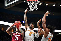 NWA Democrat-Gazette/CHARLIE KAIJO Arkansas Razorbacks guard Anton Beard (31) reaches for a layup as Tennessee Volunteers guard Jordan Bone (0) and forward Yves Pons (35) cover during the Southeastern Conference Men's Basketball Tournament semifinals, Saturday, March 10, 2018 at Scottrade Center in St. Louis, Mo. The Tennessee Volunteers knocked off the Arkansas Razorbacks 84-66
