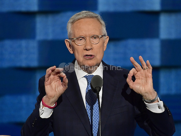 United States Senate Democratic Leader Harry Reid (Democrat of Nevada) makes remarks during the third session of the 2016 Democratic National Convention at the Wells Fargo Center in Philadelphia, Pennsylvania on Wednesday, July 27, 2016.<br /> Credit: Ron Sachs / CNP/MediaPunch<br /> (RESTRICTION: NO New York or New Jersey Newspapers or newspapers within a 75 mile radius of New York City)