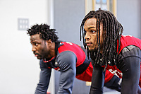 (L-R) Wilfried Bony and Renato Sanches exercise in the gym during the Swansea City Training and Press Conference at The Fairwood Training Ground, Swansea, Wales, UK. Thursday 25 January 2018