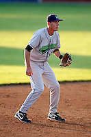 June 26, 2009:  Third Baseman Chase Austin of the Jamestown Jammers in the field during a game at Dwyer Stadium in Batavia, NY.  The Jammers are the NY-Penn League Short-Season Class-A affiliate of the Florida Marlins.  Photo by:  Mike Janes/Four Seam Images