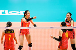 Ting Zhu of China (C) gestures during the FIVB Volleyball Nations League Hong Kong match between China and Argentina on May 29, 2018 in Hong Kong, Hong Kong. Photo by Marcio Rodrigo Machado / Power Sport Images
