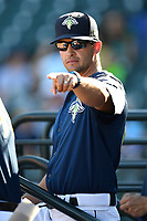 Manager Jose Leger (19) of the Columbia Fireflies in a game against the Augusta GreenJackets on Sunday, July 30, 2017, at Spirit Communications Park in Columbia, South Carolina. Augusta won, 6-0. (Tom Priddy/Four Seam Images)