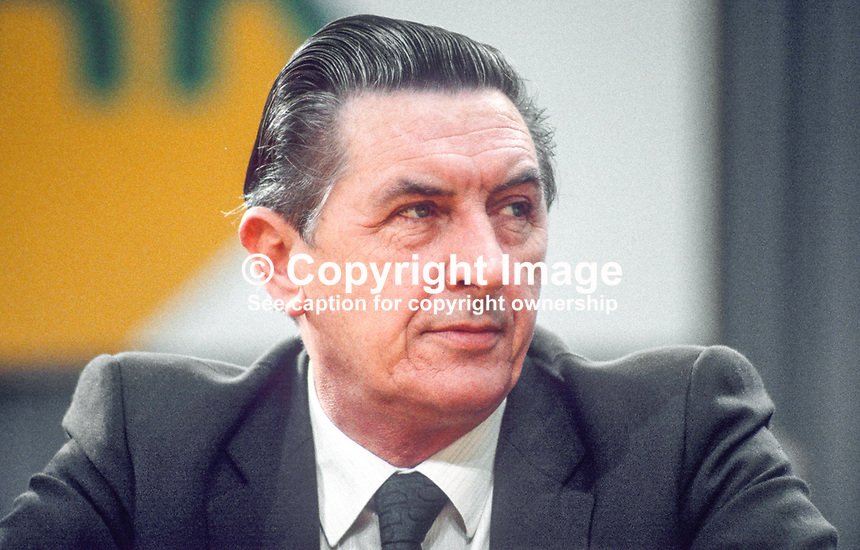 Sylvester Barrett, TD, Minister for Defence, Rep of Ireland, on platform at Fianna Fail Ard Fheis. 198102000026SB1.<br /> <br /> Copyright Image from Victor Patterson,<br /> 54 Dorchester Park, <br /> Belfast, UK, BT9 6RJ<br /> <br /> t1: +44 28 9066 1296 (from Rep of Ireland 048 9066 1296)<br /> t2: +44 28 9002 2446 (from Rep of Ireland 048 9002 2446)<br /> <br /> m: +44 7802 353836<br /> <br /> e: victorpatterson@me.com<br /> www.victorpatterson.com<br /> <br /> Please see my Terms and Conditions of Use at www.victorpatterson.com. It is IMPORTANT that you familiarise yourself with them.<br /> <br /> Images used on the Internet must be visibly watermarked i.e. &copy; Victor Patterson<br /> within the body of the image and copyright metadata must not be deleted. Images <br /> used on the Internet have a size restriction of 4kbs and will be chargeable at current<br />  NUJ rates unless agreed otherwise.<br /> <br /> This image is only available for the use of the download recipient i.e. television station, newspaper, magazine, book publisher, etc, and must not be passed on to any third <br /> party. It is also downloaded on condition that each and every usage is notified within 7 days to victorpatterson@me.com<br /> <br /> The right of Victor Patterson to be identified as the author is asserted in accordance with The Copyright Designs And Patents Act (1988). All moral rights are asserted.