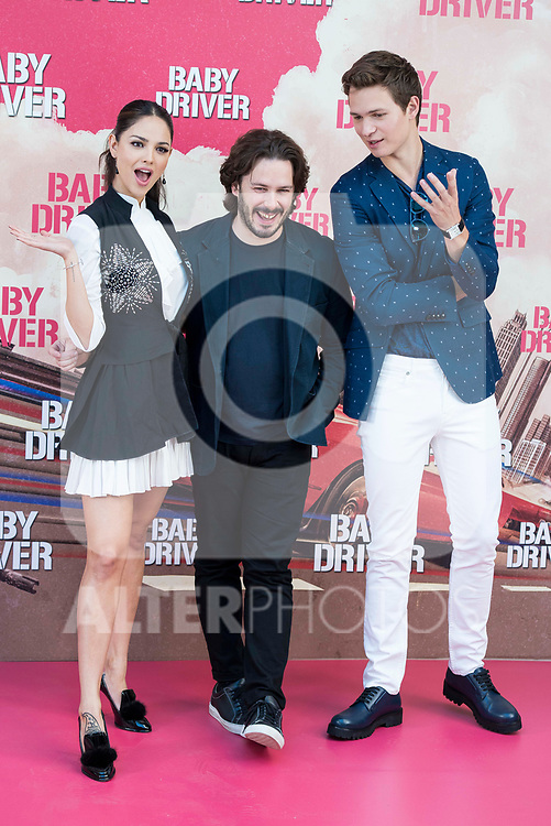 Mexican actress Eiza Gonz&aacute;lez, director of the film, Edgar Wright and american actor Ansel Elgort attends to the presentation of the film 'Baby Driver' at Villa Magna Hotel in Madrid, June 23, 2017. Spain.<br /> (ALTERPHOTOS/BorjaB.Hojas)
