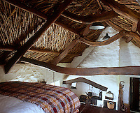 The sinuous curves of the roof beams and the neat herringbone pattern of the underthatch are best appreciated from the sleeping platform