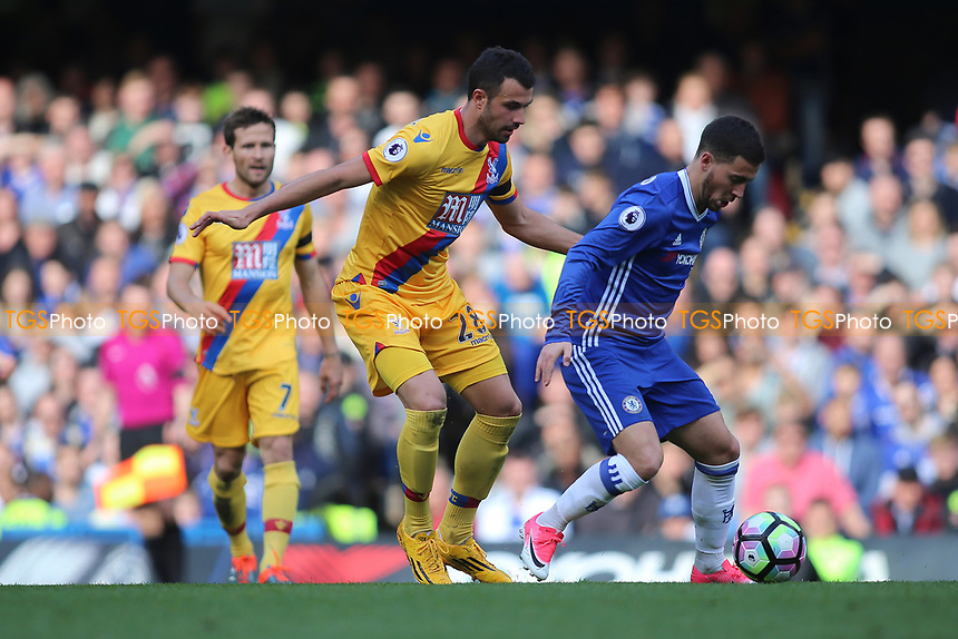 Luka Milivojevic of Crystal Palace closely watches Eden Hazard of Chelsea during Chelsea vs Crystal Palace, Premier League Football at Stamford Bridge on 1st April 2017