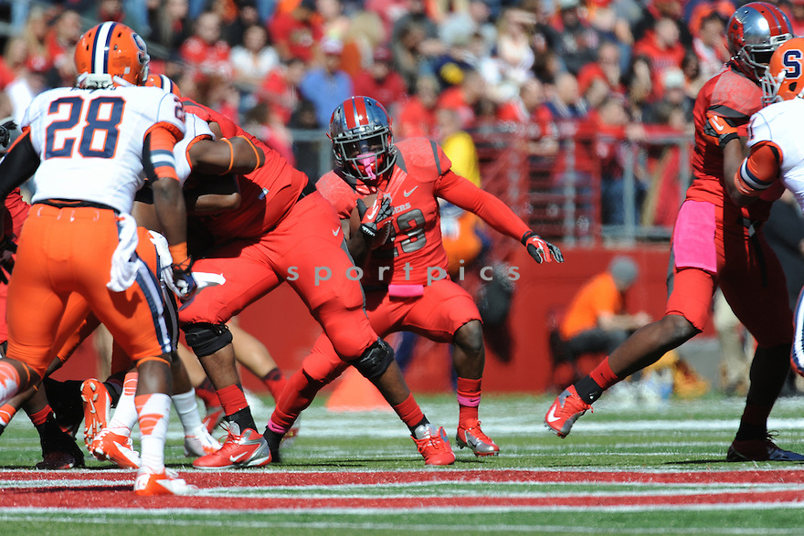 Rutgers University Scarlet Knights runningback Jawan Jamison (23) during game against University of Syracuse Orangemen played at High Point Solutions Stadium on Saturday, October 13, 2012 in Philadelphia, PA. Rutgers defeated Syracuse 23-15.
