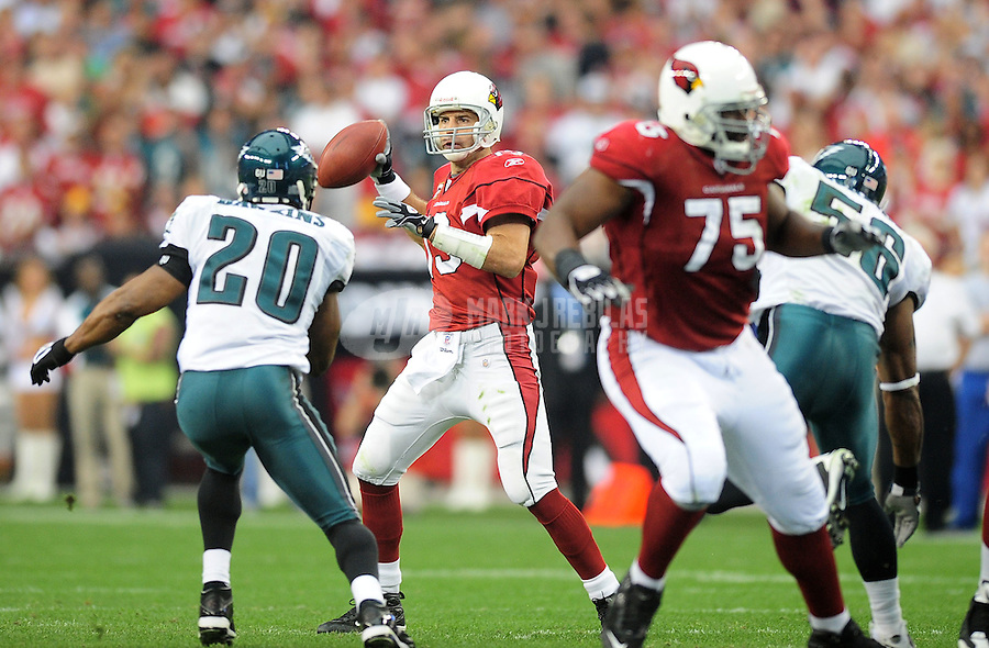 Jan. 18, 2009; Glendale, AZ, USA; Arizona Cardinals quarterback (13) Kurt Warner against the Philadelphia Eagles during the NFC Championship game at University of Phoenix Stadium. Arizona defeated the Eagles 32-25 to advance to the Super Bowl. Mandatory Credit: Mark J. Rebilas-
