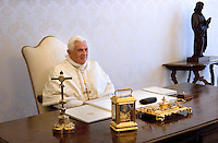 Pope Benedict XVI private library at the Vatican,  March 14, 2009