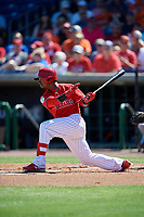Philadelphia Phillies shortstop Jean Segura (2) hits a single during a Grapefruit League Spring Training game against the Baltimore Orioles on February 28, 2019 at Spectrum Field in Clearwater, Florida.  Orioles tied the Phillies 5-5.  (Mike Janes/Four Seam Images)