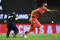 10th January 2020; Marvel Stadium, Melbourne, Victoria, Australia; Big Bash League Cricket, Melbourne Renegades versus Melbourne Stars; Richard Gleeson of the Renegades collides with the umpire whilst fielding the ball - Editorial Use