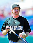 8 March 2010: Florida Marlins' Minor League Manager and Spring Instructor Tim Leiper organizes drills and batting practice prior to a Spring Training game against the Washington Nationals at Space Coast Stadium in Viera, Florida. The Marlins defeated the Nationals 12-2 in Grapefruit League action. Mandatory Credit: Ed Wolfstein Photo