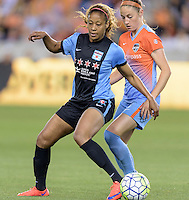 Casey Short (6) of the Chicago Red Stars battles Janine Beckie (11) of the Houston Dash for the ball in the first half on Saturday, April 16, 2016 at BBVA Compass Stadium in Houston Texas.
