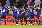 Doan Ritsu of Japan (C, #21) celebrates after scoring his goal with teammates during the AFC Asian Cup UAE 2019 Quarter Finals match between Vietnam (VIE) and Japan (JPN) at Al Maktoum Stadium on 24 January 2018 in Dubai, United Arab Emirates. Photo by Marcio Rodrigo Machado / Power Sport Images