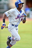 Kingsport Mets shortstop L.A. Woodard (11) runs to first base during a game against the Elizabethton Twins at Joe O'Brien Field on August 7, 2018 in Elizabethton, Tennessee. The Twins defeated the Mets 16-10. (Tony Farlow/Four Seam Images)