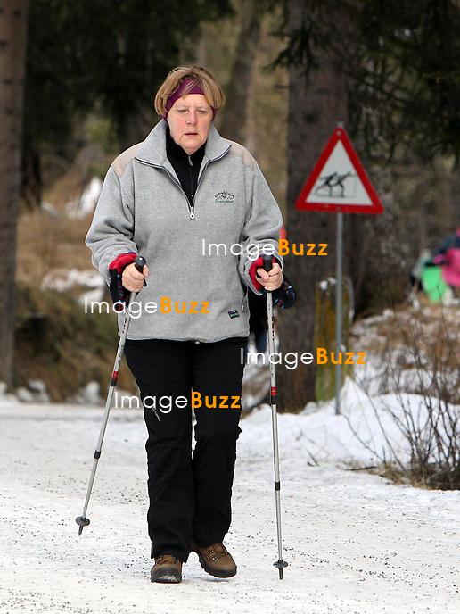 Chancellor Angela Merkel dresses casually as  she was seen enjoying some Christmas vacation in Saint Moritz, Switzerland.<br /> 22 December, 2014.