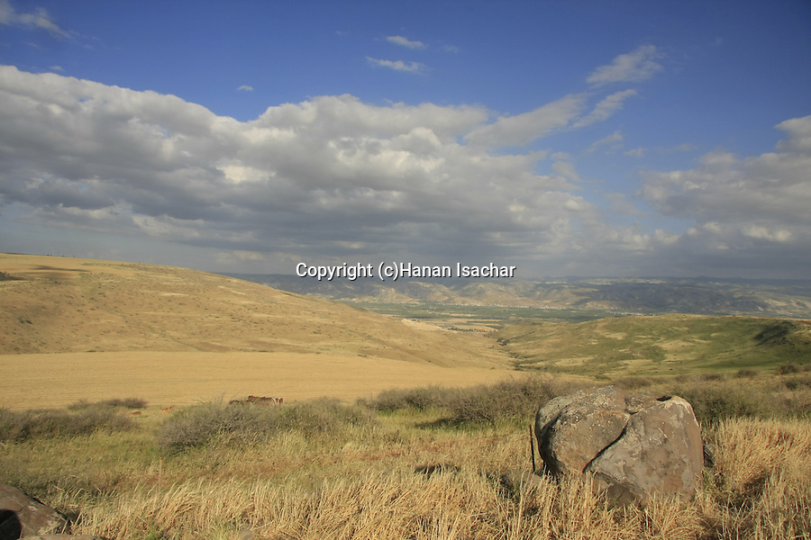 Israel, Issachar Heights. View of Jordan valley and Gilead mountains from Givat Hamore-Ramot Issachar scenic road