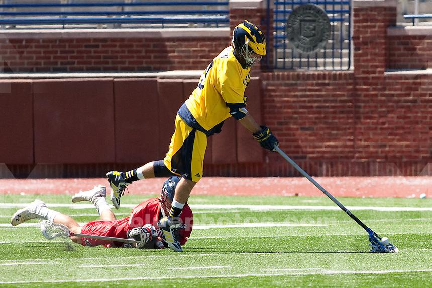 The University of Michigan men's lacrosse team beats Robert Morris, 19-10, during Senior Day at Michigan Stadium in Ann Arbor, Mich., on April. 26, 2014.