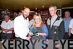 Catherine Murphy, Abbeyfeale, receiving a special presentation on friday night from Bernard O'Sullivan, Comhaltas, and Tadgh O'Maolcatha, Templeglantine Comhaltas on behalf of West Limerick Singing Club. Catherine is the All Ireland Senior Ladies english singing champion 2014. The presentation was given as part of the Garry McMahon Singing Weekend.