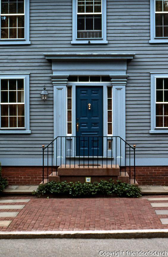 Providence: Samuel Wheldon House, c. 1830. Door, No. 40 Benefit St.  Photo '91.