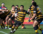Ki Anufe pops a short pass to Pat Masoe. Counties Manukau Premier 1 McNamara Cup Final between Ardmore Marist and Bombay, played at Navigation Homes Stadium on Saturday July 20th 2019.<br />  Bombay won the McNamara Cup for the 5th time in 6 years, 33 - 18 after leading 14 - 10 at halftime.<br /> Photo by Richard Spranger.
