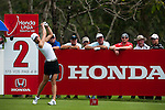 CHON BURI, THAILAND - FEBRUARY 17:  Michelle Wie of USA tees off on the 2nd hole during day one of the LPGA Thailand at Siam Country Club on February 17, 2011 in Chon Buri, Thailand. Photo by Victor Fraile / The Power of Sport Images