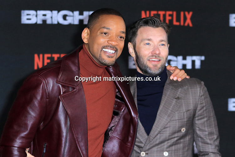 NON EXCLUSIVE PICTURE: MATRIXPICTURES.CO.UK<br /> PLEASE CREDIT ALL USES<br /> <br /> WORLD RIGHTS<br /> <br /> American actor Will Smith and Australian actor Joel Edgerton attend the UK premiere of Bright at BFI Southbank in London.<br /> <br /> DECEMBER 15th 2017<br /> <br /> REF: MES 172875