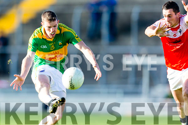 Niall O'Shea South Kerry in action against Brendan Kelliher Dingle in the Quarter Finals of the Kerry County Football Championship at Austin Stack Park on Saturday.